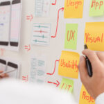 designers pointing to Post-it notes with design terms