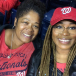 Sylvia Swinton and daughter at Nationals game