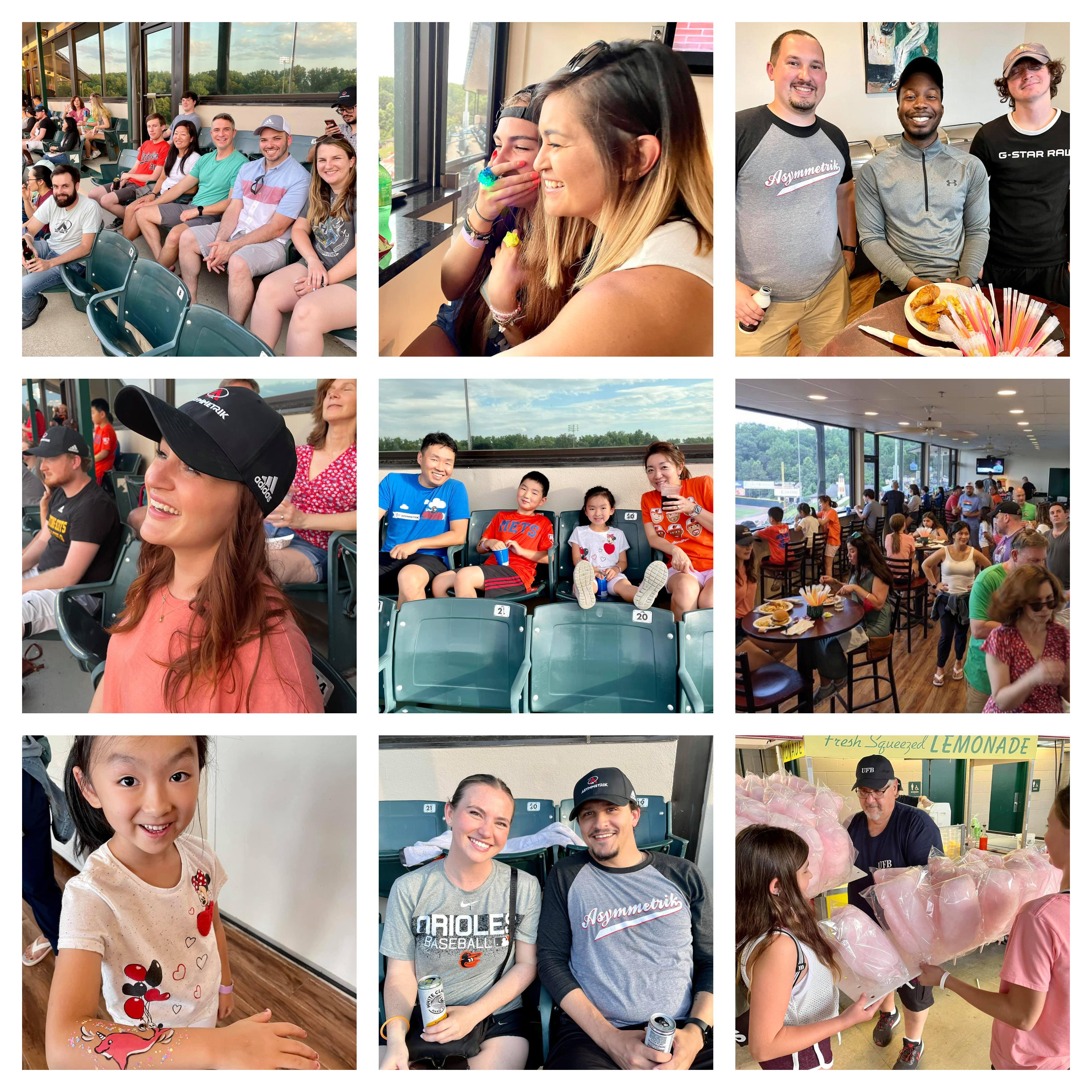 a collage of Asymmetrik employees enjoying themselves at Bowie Baysox
