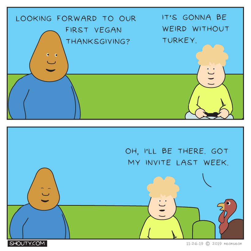 Vegan Thanksgiving Comic by Shouty
