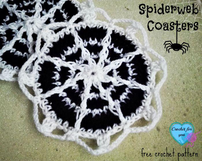 Spiderweb Coasters - free crochet pattern