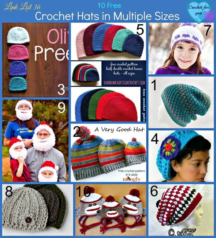10 Free Crochet Hats in Multiple Sizes