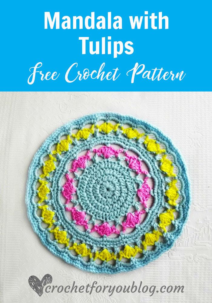 Mandala with Tulips - free crochet pattern