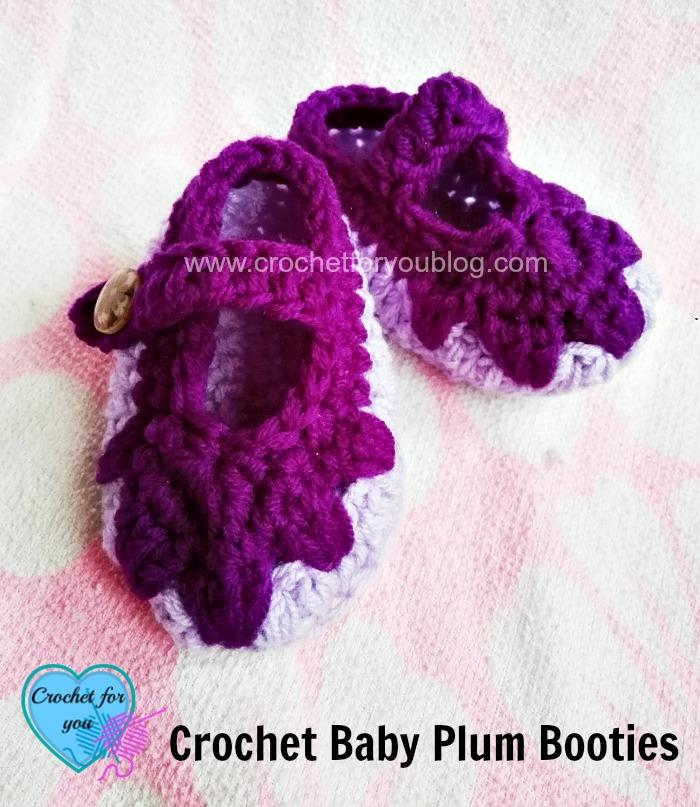 Crochet Baby Plum Booties - free pattern