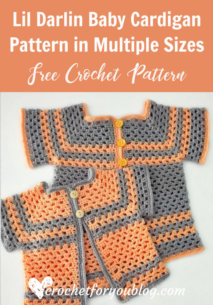 Lil Darlin Baby Cardigan Pattern in Multiple Sizes - free crochet pattern