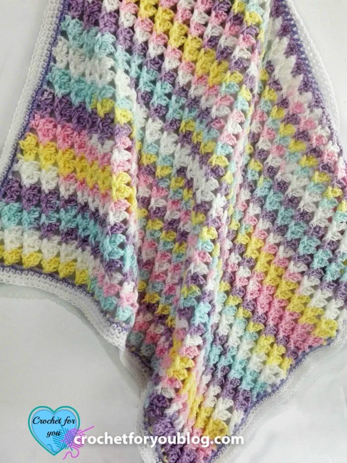 Pastel Peaks Crochet Baby Blanket Free Pattern