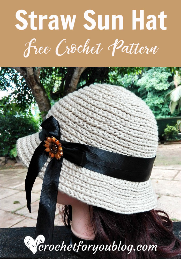 Straw Sun Hat - free crochet pattern