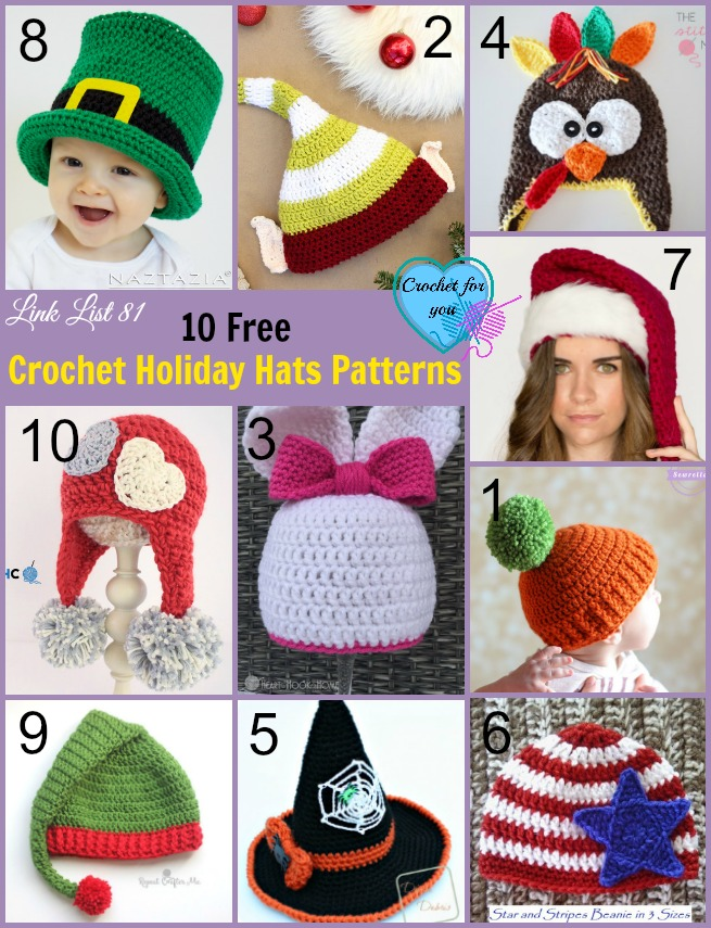 10 Free Crochet Holiday Hats Patterns