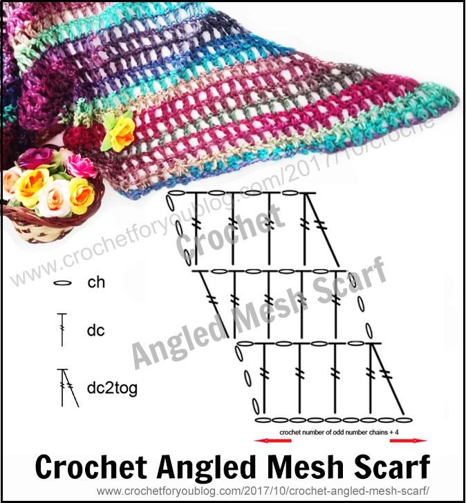 Crochet Angled Mesh Scarf - free pattern