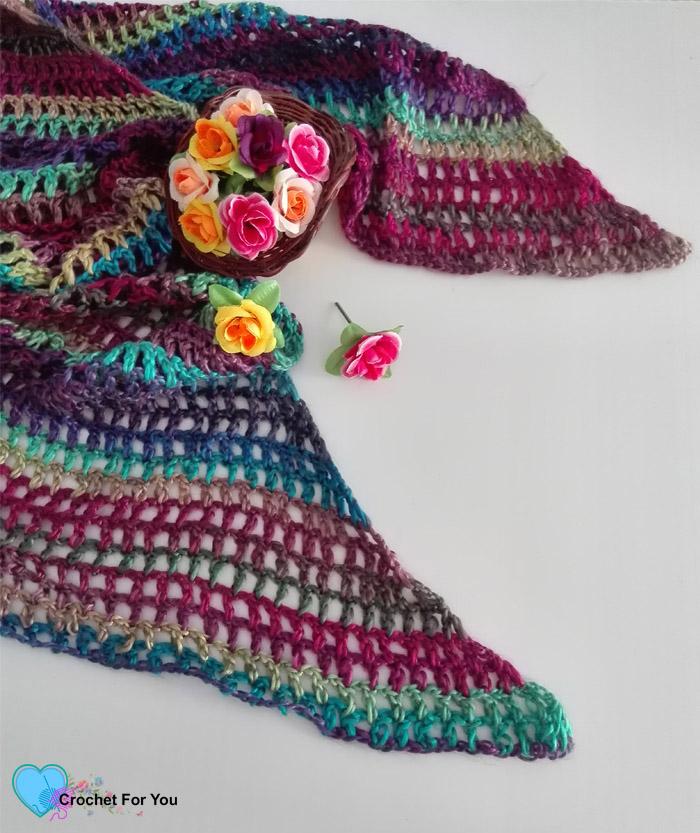 Crochet Angled Mesh Scarf Free Pattern