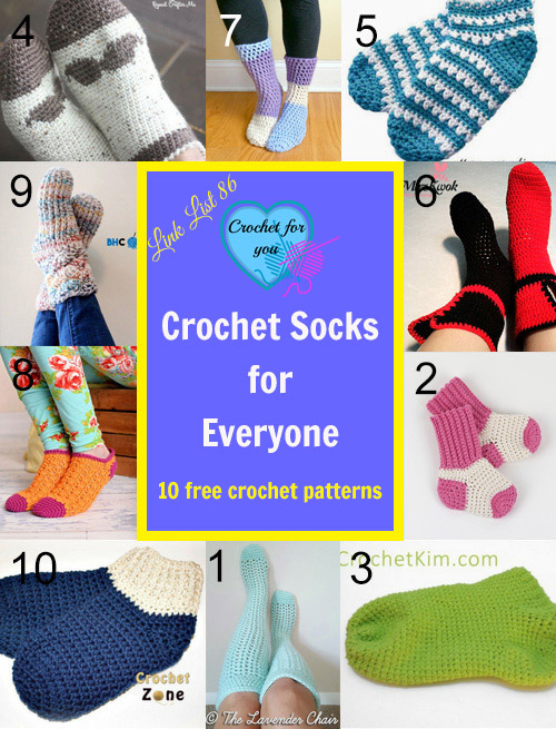 10 FREE Crochet Socks for Everyone