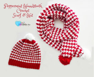 Peppermint Houndstooth Scarf & Hat