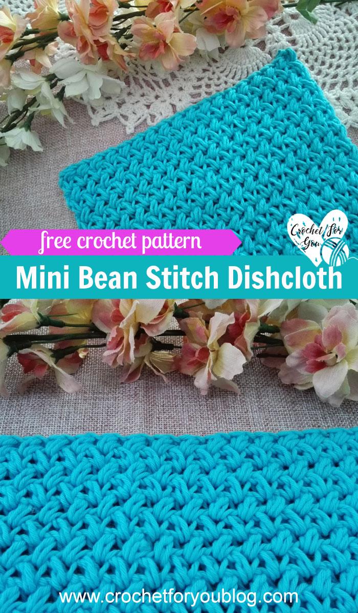 Crochet Mini Bean Stitch Dishcloth - free pattern