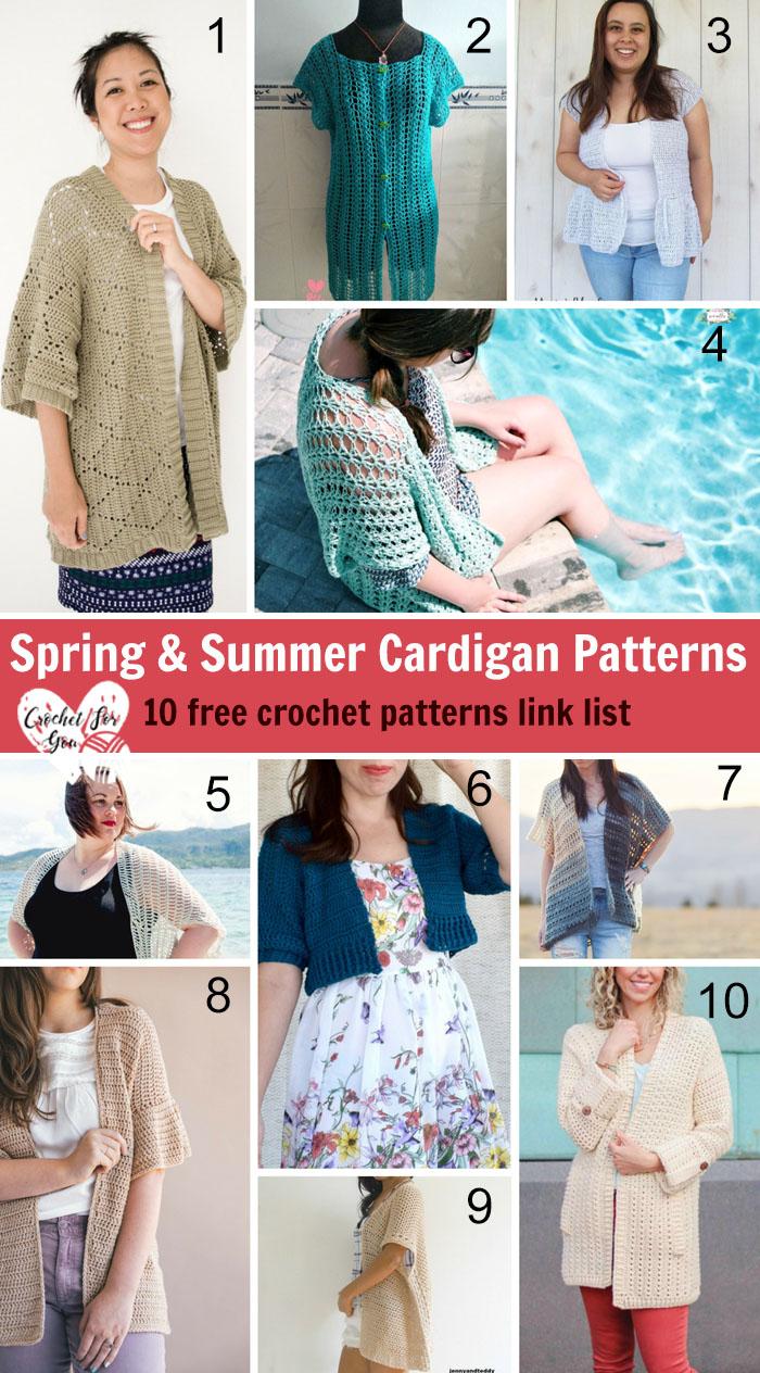 Crochet Spring & Summer Cardigan Patterns - 10 Free Crochet Pattern Link List