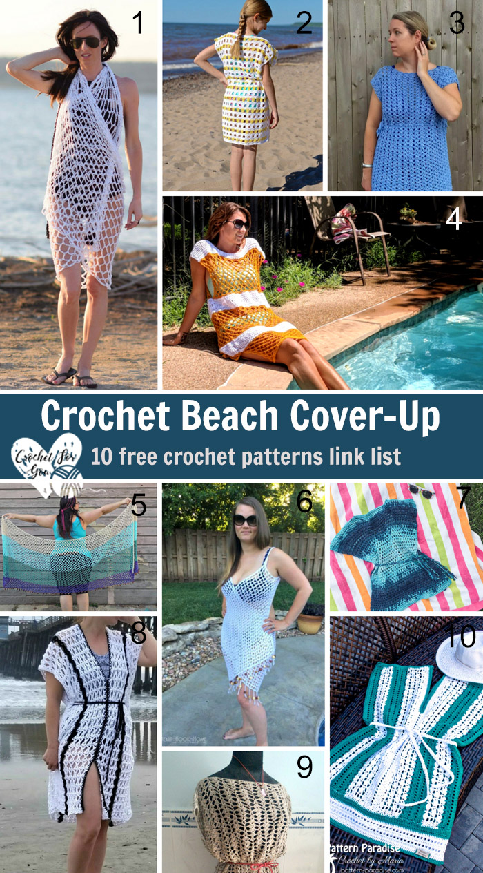 Crochet Beach Cover Up - 10 free crochet pattern link list