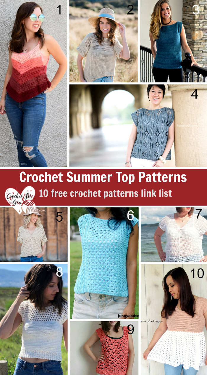 Crochet Summer Top Patterns - 10 Free Pattern Link List
