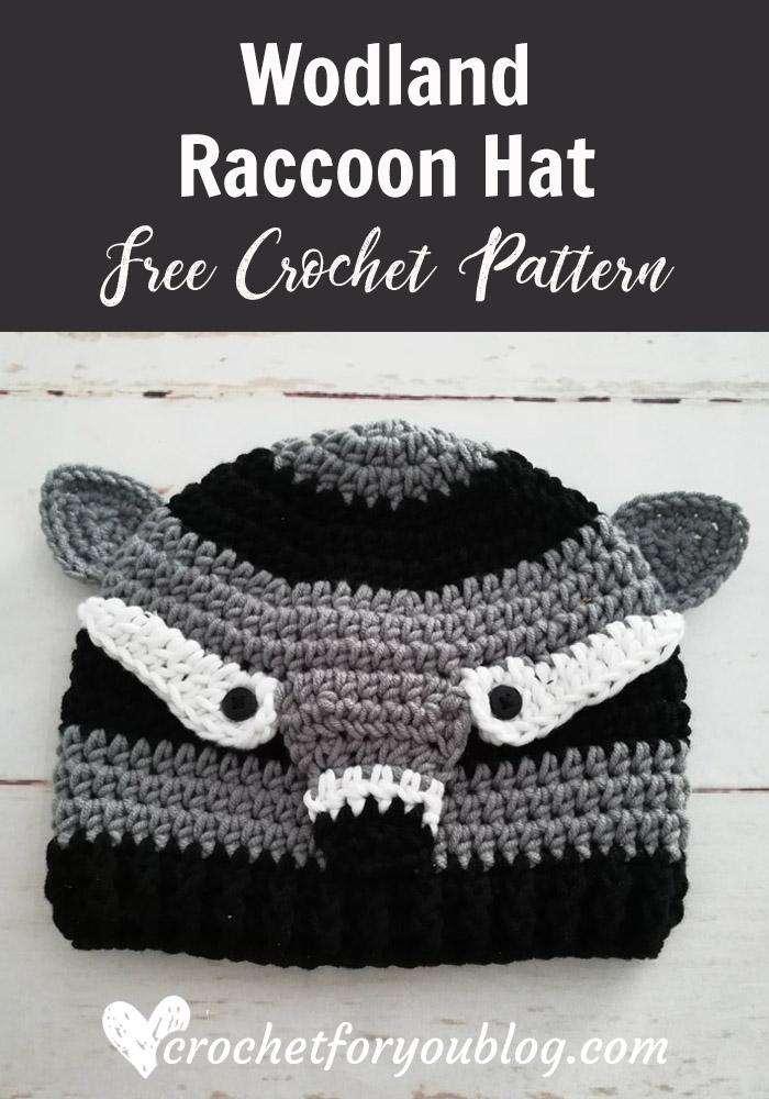 Crochet Woodland Raccoon Hat Free Pattern