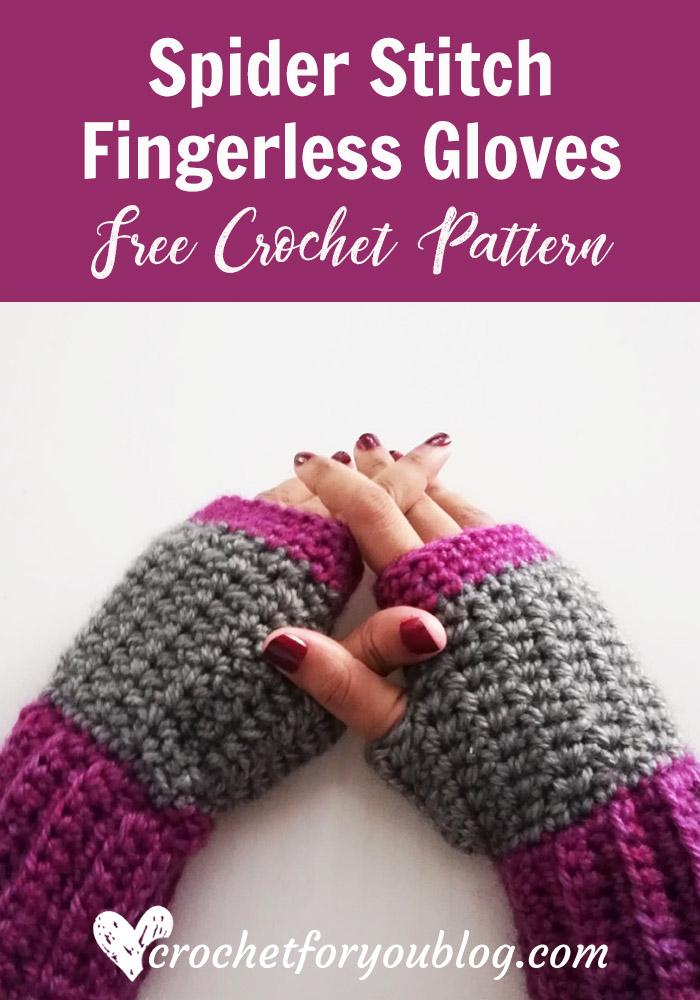 Crochet Spider Stitch Fingerless Gloves Free Pattern