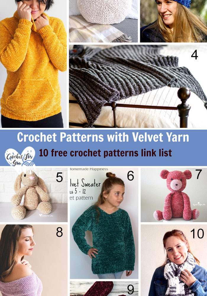 Crochet Patterns with Velvet Yarn – 10 free crochet pattern link list