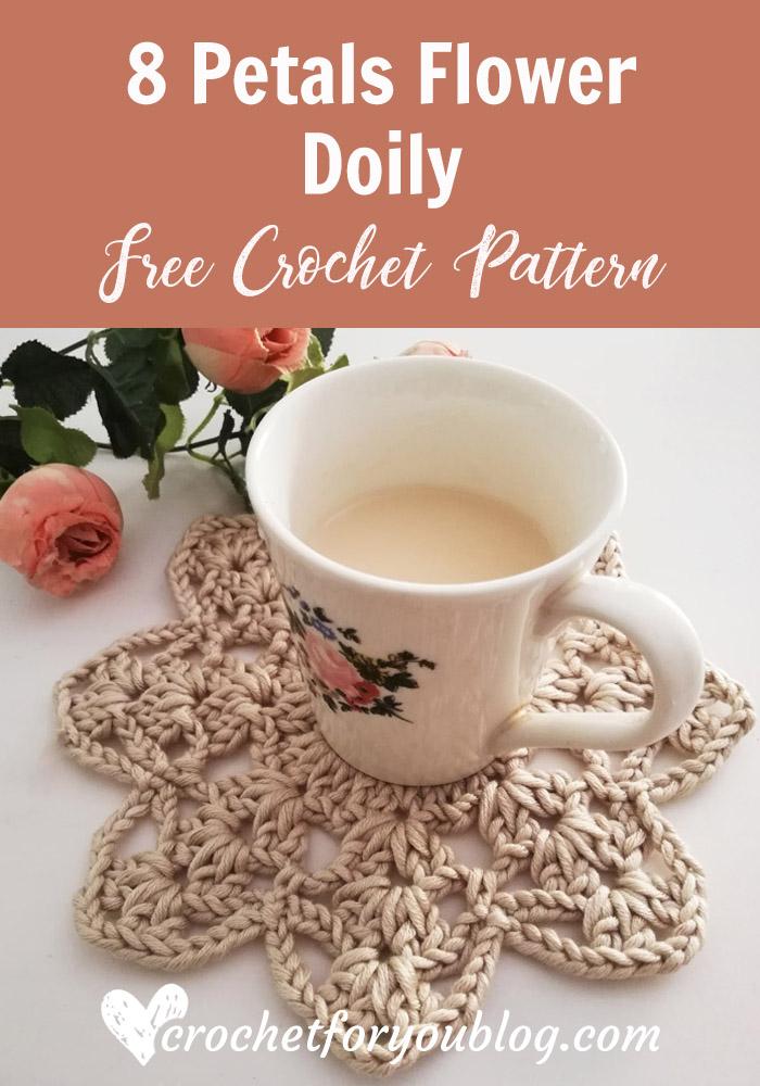 8 Petals Flower Doily Free Crochet Pattern