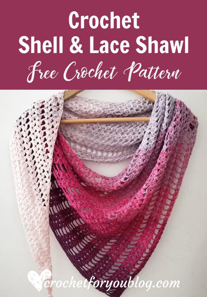 Crochet Shell & Lace Shawl Free Pattern