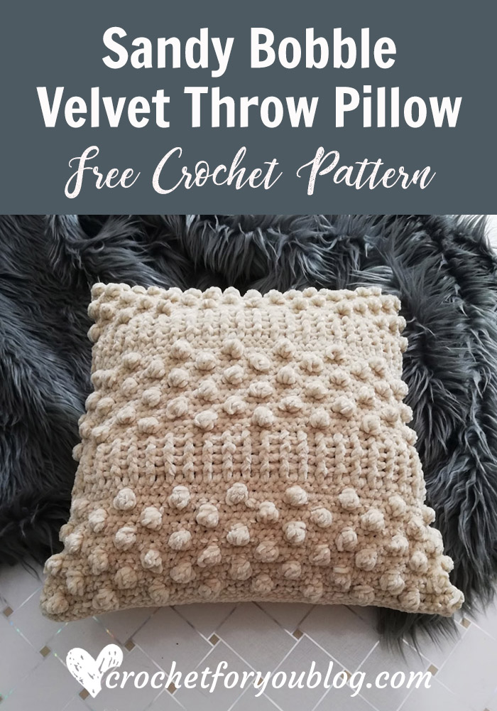 Sandy Bobble Crochet Velvet Throw Pillow Free Pattern