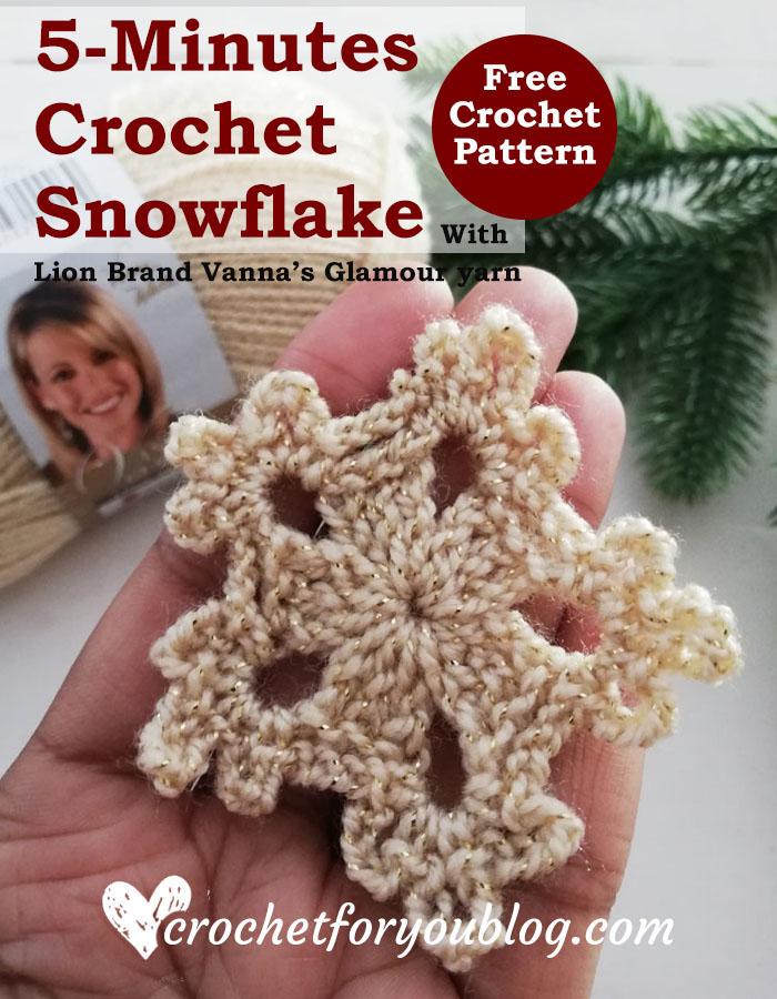 5-Minute Crochet Snowflake - free crochet pattern