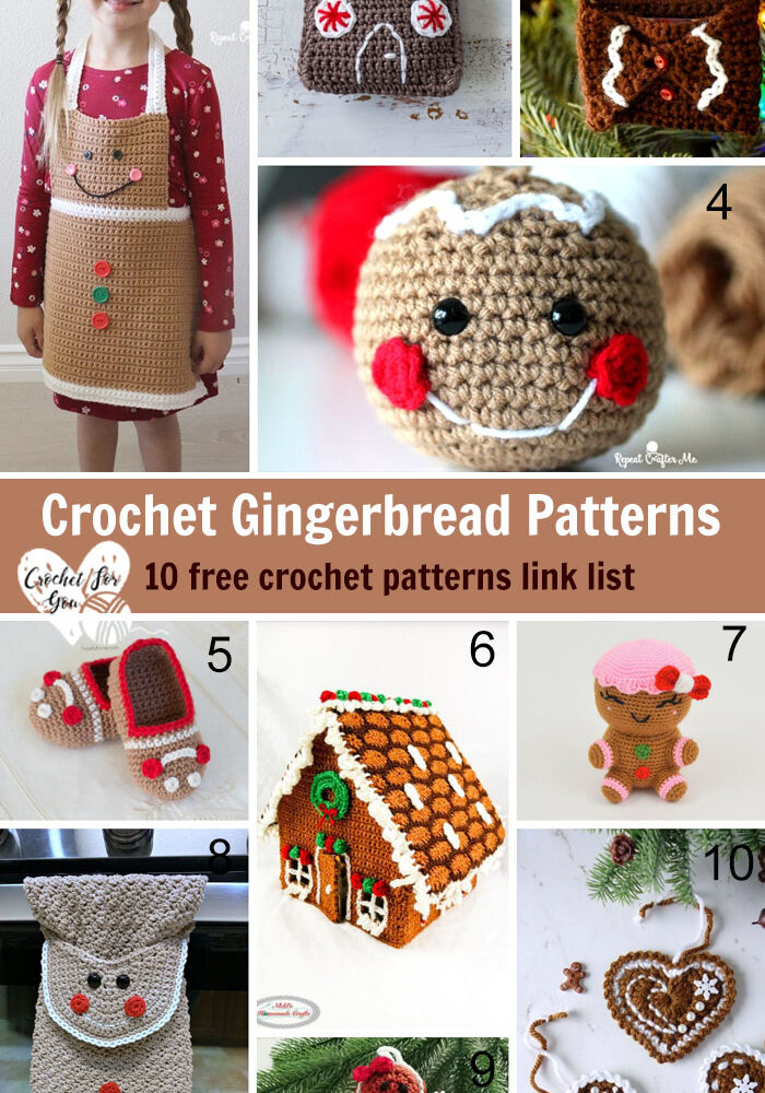Crochet Gingerbread Patterns – 10 free crochet pattern link list