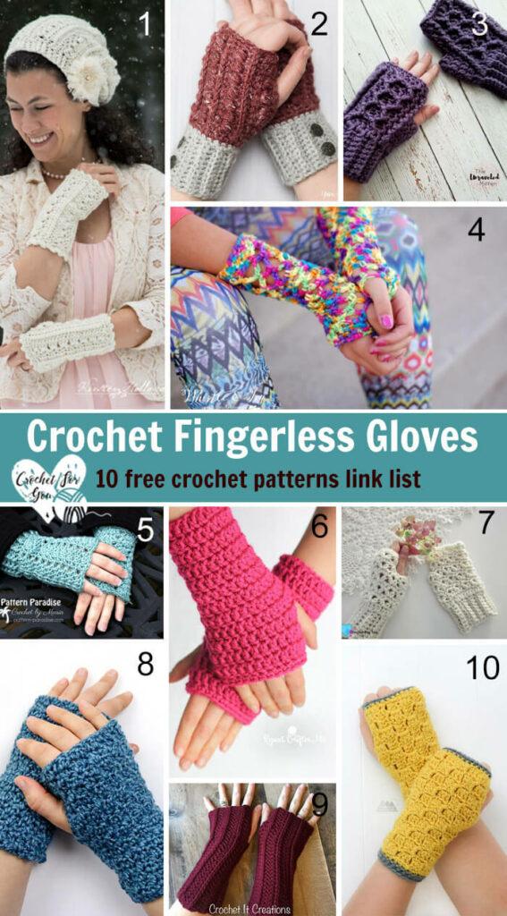 Crochet Fingerless Gloves Patterns - 10 free crochet patterns