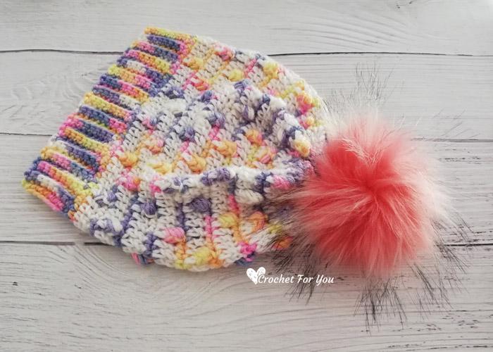 Unicorn Bobble Drops Child Hat Free Pattern