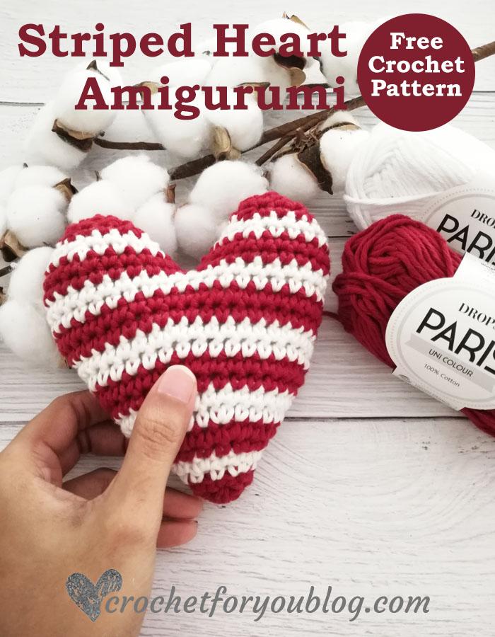 Crochet Striped Heart Amigurumi Free Pattern