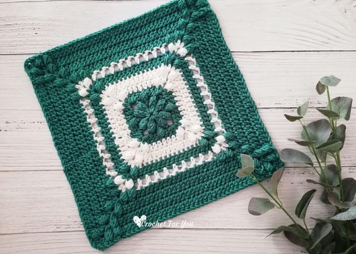 Emerald Asscher Crochet Afghan Square