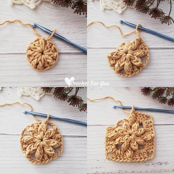 How to Crochet Bobble Drops Flower Granny Square