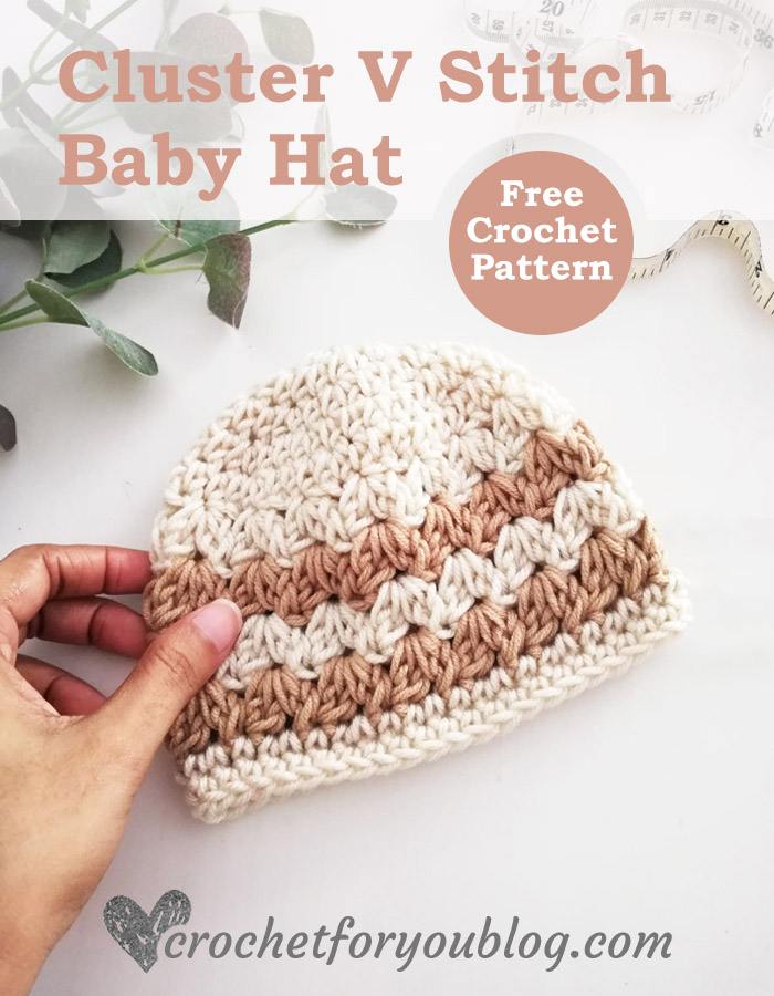 Cluster V Stitch Baby Hat Free Pattern