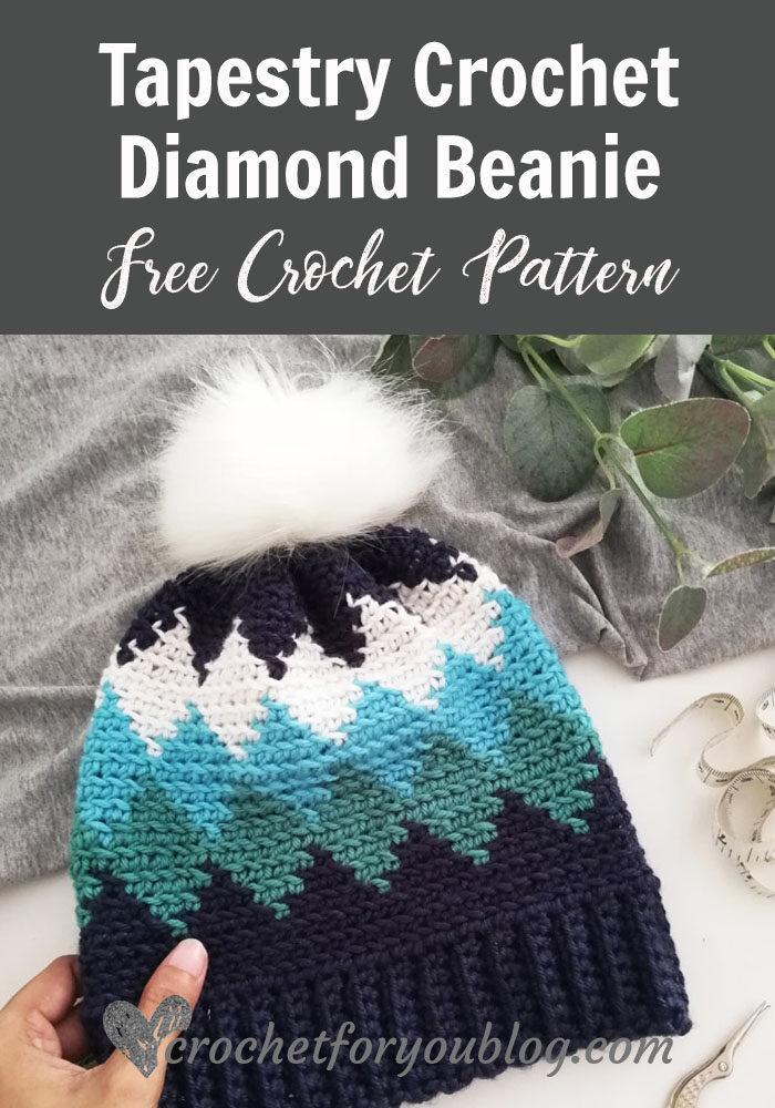 Tapestry Crochet Diamond Beanie Free Pattern