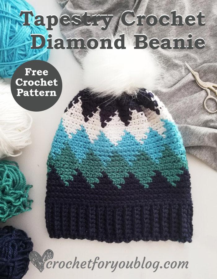 Tapestry Crochet Diamond Beanie