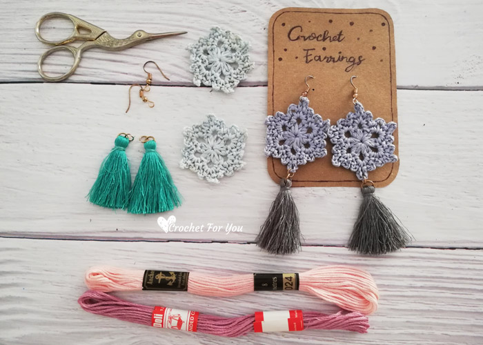 Materials you need for crochet snowflake earrings