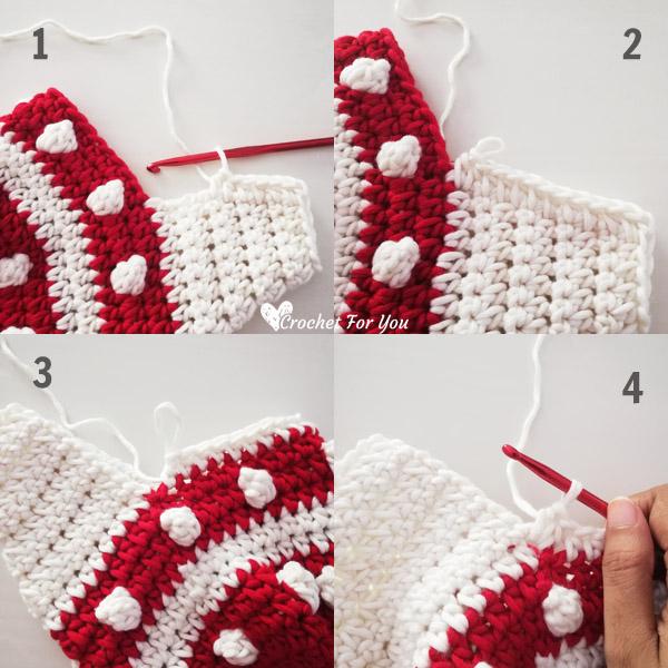 Crochet Bobbles & Stripes Christmas Stocking