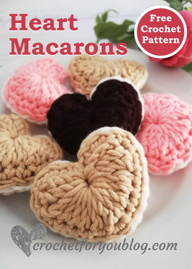 Crochet Heart Macarons