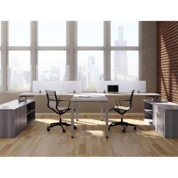 Two Person Desk with Storage Credenza