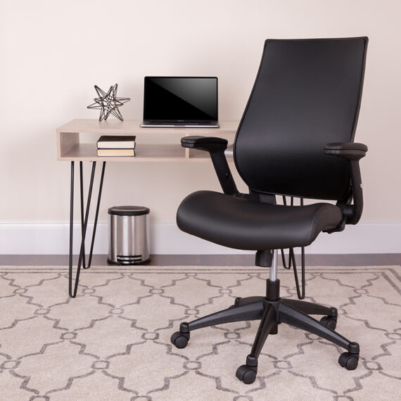 High Back Black LeatherSoft Executive Swivel Office Chair with Molded Foam Seat and Adjustable Arms