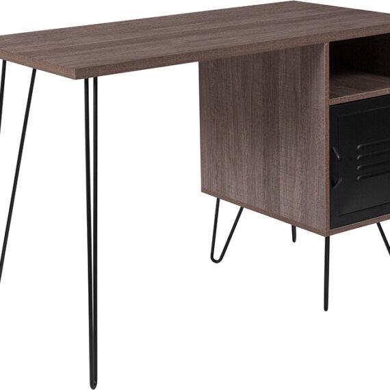 Woodridge Collection Rustic Wood Grain Finish Computer Desk with Metal Cabinet Door and Black Metal Legs