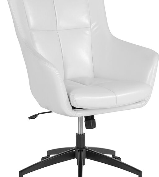 Barcelona Home and Office Upholstered High Back Chair in White LeatherSoft