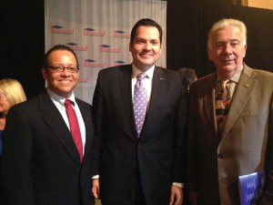 (Pictured L-R) GSC Director Dr. David Ortiz, Texas State Rep. and UIW alumnusJustin Rodriguez, and UIW President Dr. Louis Agnese share a photo during Celebraciòn de Excelencia.