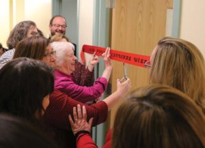 Dean of Nursing and Health Professions Dr. Mary Hoke cuts the ribbon to the Nursing Cardinal Wellness Center with the help of Sr. Joan Holden, CCVI.