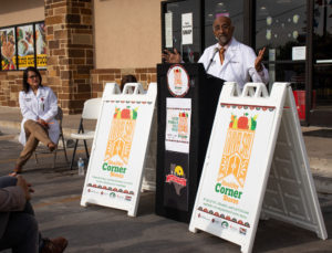 UIWSOM's Dr. Anil Mangla opens VIVA SA Healthy Corner Store Initiative launch ceremony nearby research partner, Dr. Emma Santa Maria.