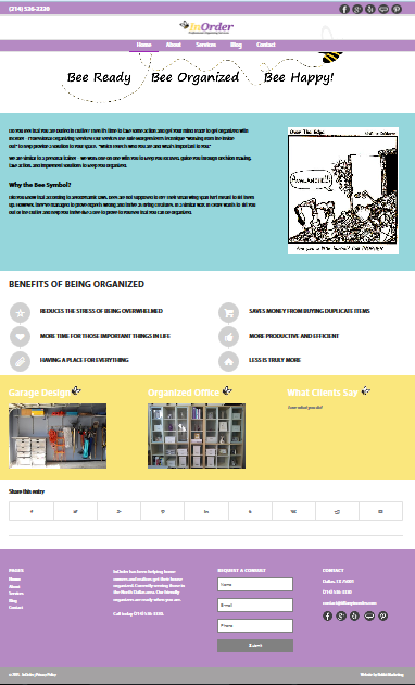 Final view of InOrder homepage