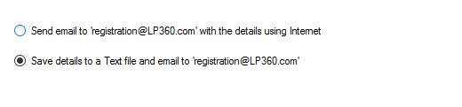 Save details to a Text file and e-mail directly to registration@lp360.com