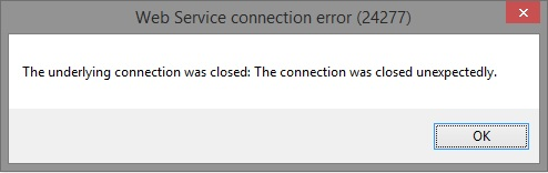 The underlying connection was closed: The connection was closed unexpectedly.