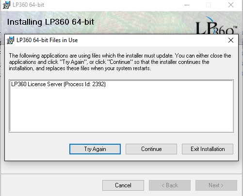 LP360 Files in Use